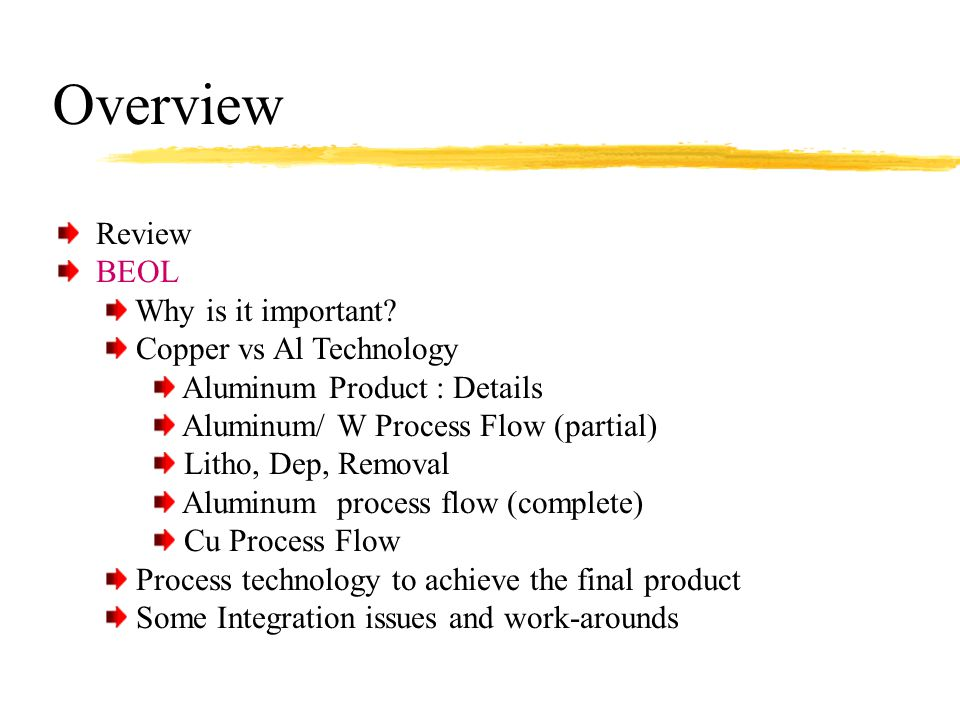 Overview Review BEOL Why is it important Copper vs Al Technology