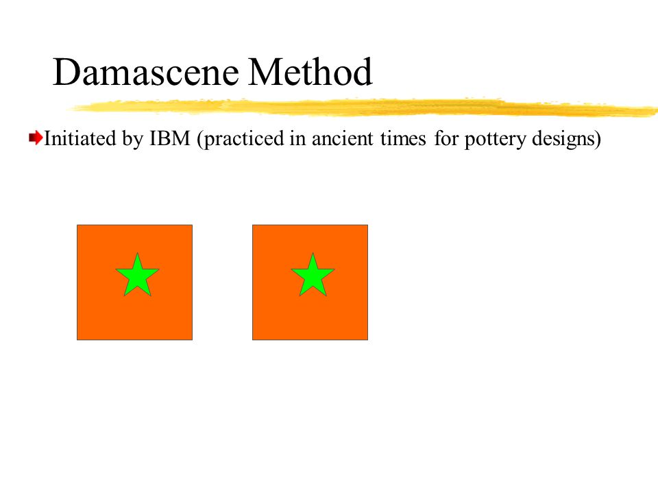 Damascene Method Initiated by IBM (practiced in ancient times for pottery designs)