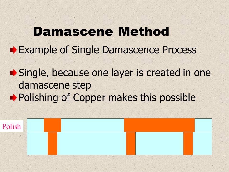 Damascene Method Example of Single Damascence Process