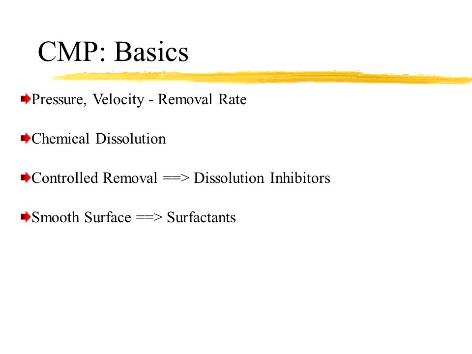 CMP: Basics Pressure, Velocity - Removal Rate Chemical Dissolution