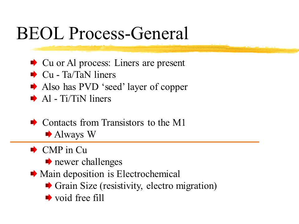 BEOL Process-General Cu or Al process: Liners are present