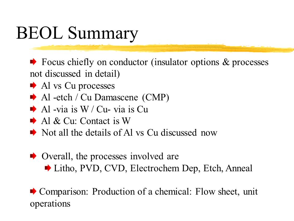 BEOL Summary Focus chiefly on conductor (insulator options & processes not discussed in detail) Al vs Cu processes.