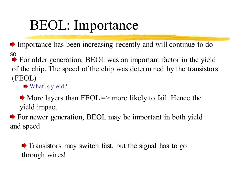 BEOL: Importance Importance has been increasing recently and will continue to do so.