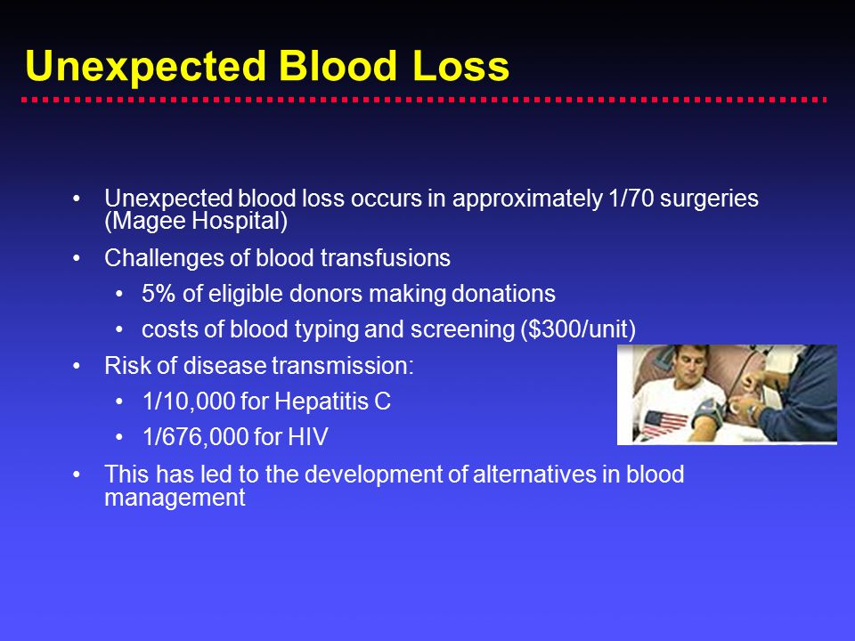 Unexpected Blood Loss Unexpected blood loss occurs in approximately 1/70 surgeries (Magee Hospital)