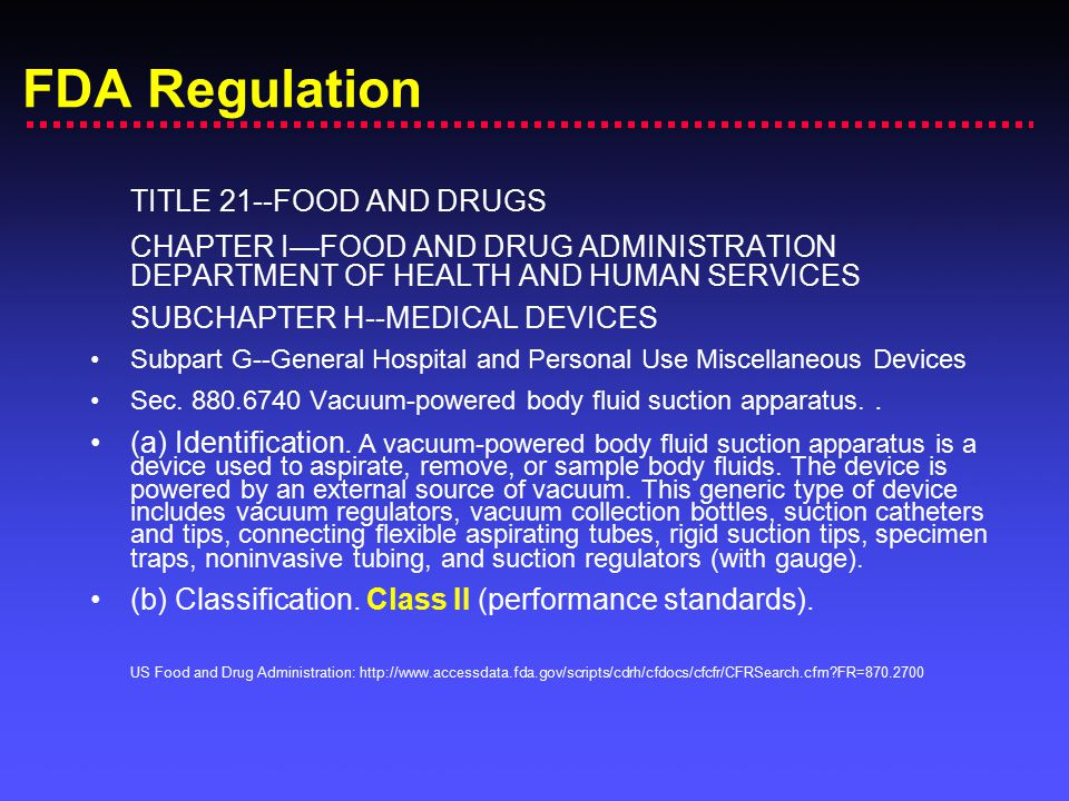 FDA Regulation TITLE 21--FOOD AND DRUGS