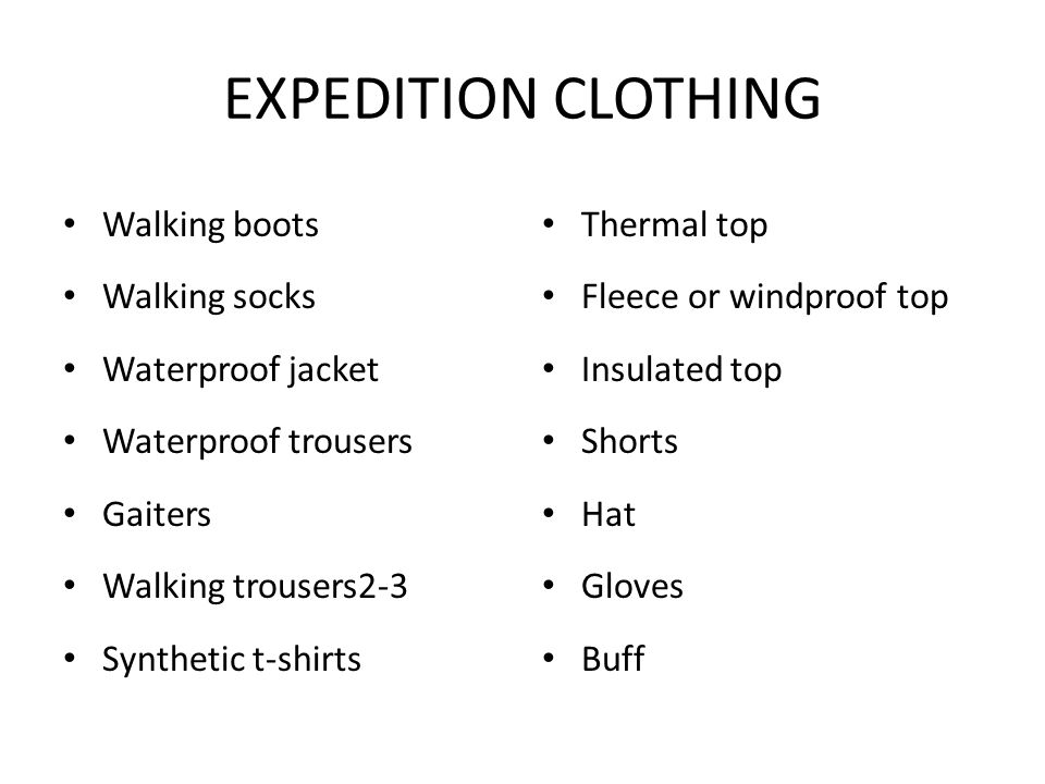 EXPEDITION CLOTHING Walking boots Walking socks Waterproof jacket
