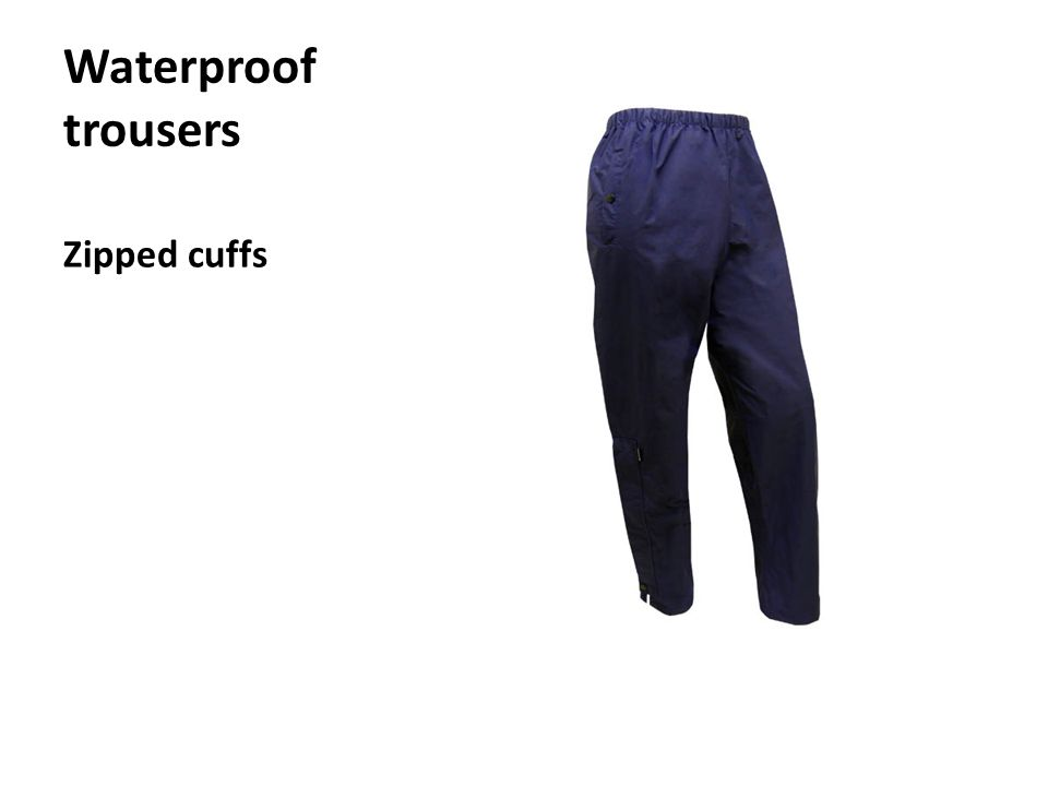Waterproof trousers Zipped cuffs