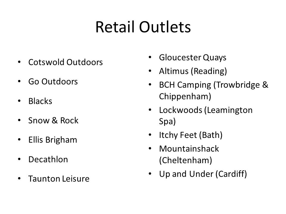 Retail Outlets Cotswold Outdoors Gloucester Quays Altimus (Reading)