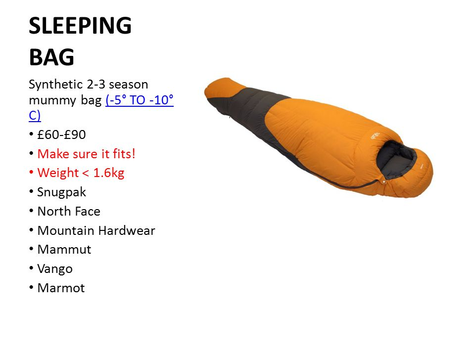 SLEEPING BAG Synthetic 2-3 season mummy bag (-5° TO -10° C) £60-£90