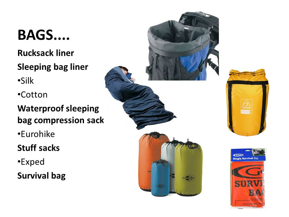 BAGS.... Rucksack liner Sleeping bag liner Silk Cotton