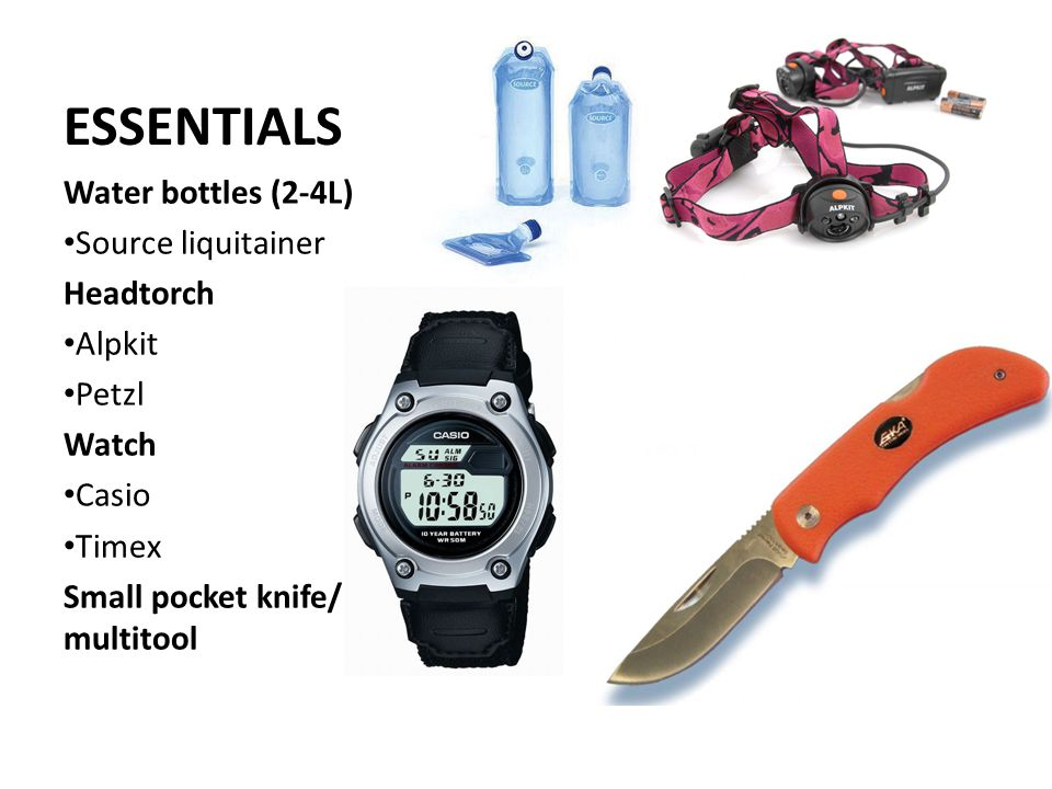 ESSENTIALS Water bottles (2-4L) Source liquitainer Headtorch Alpkit