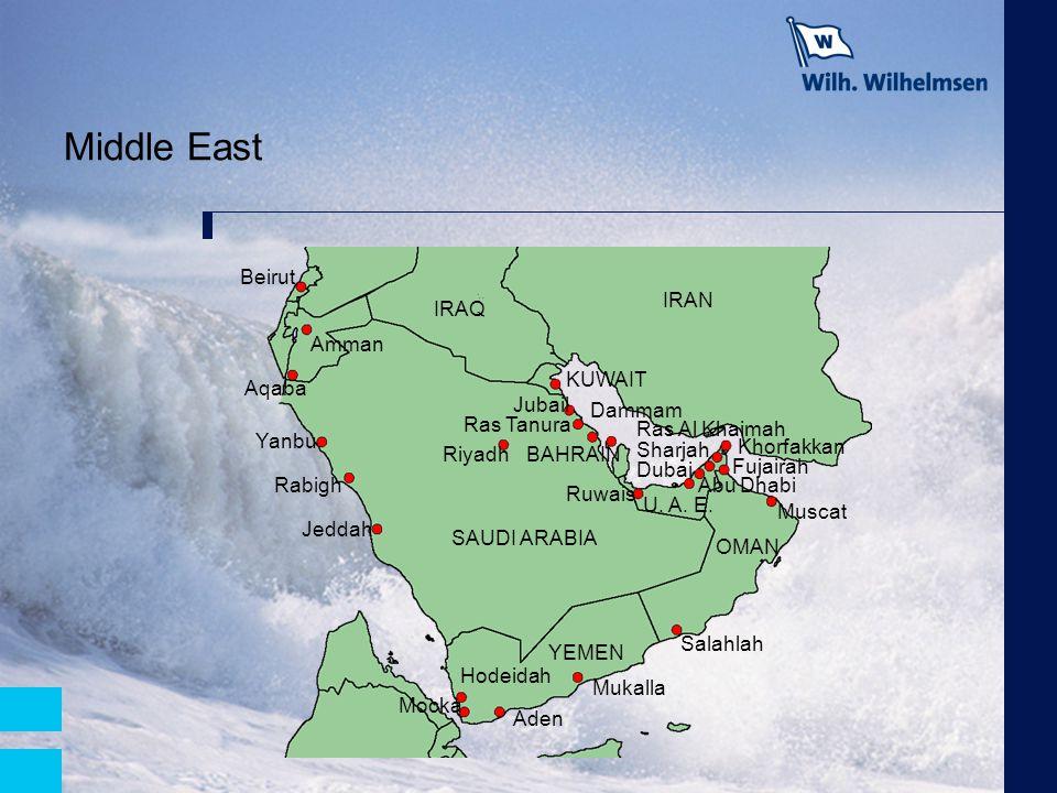 Middle East Beirut IRAN IRAQ Amman KUWAIT Aqaba Jubail Dammam