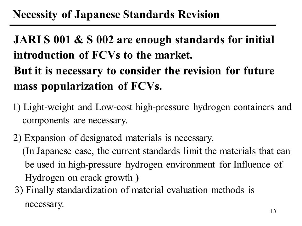 Necessity of Japanese Standards Revision