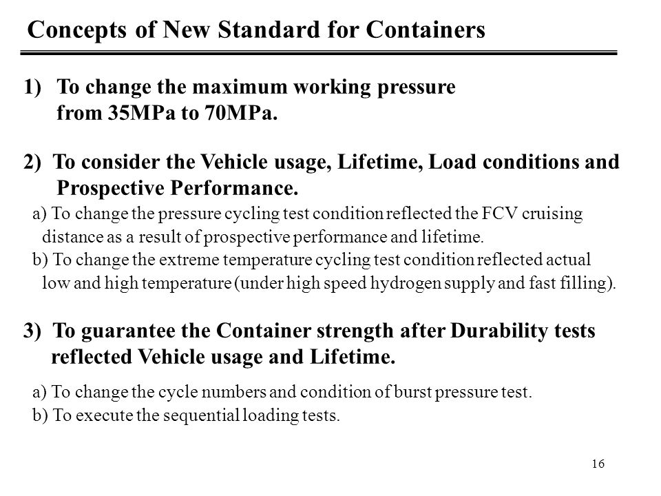 Concepts of New Standard for Containers