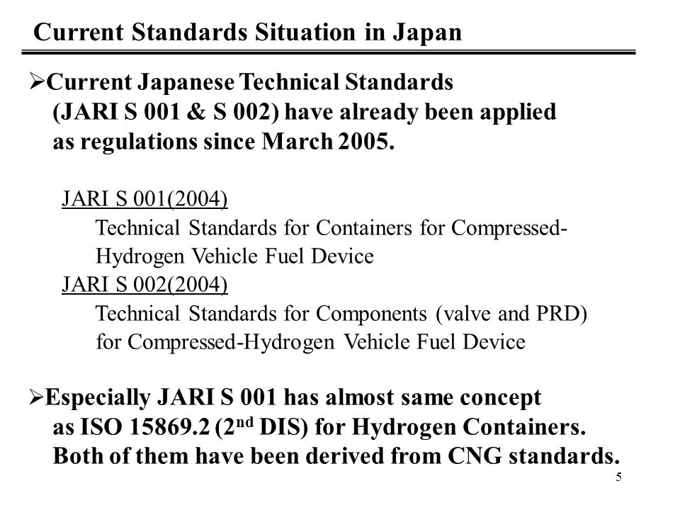Current Standards Situation in Japan