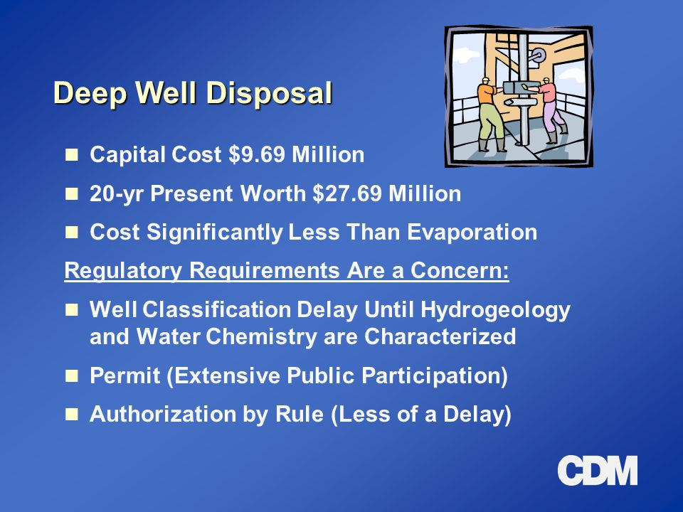 Deep Well Disposal Capital Cost $9.69 Million