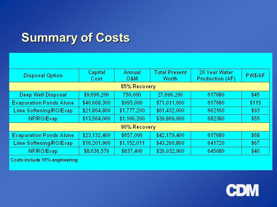 Summary of Costs