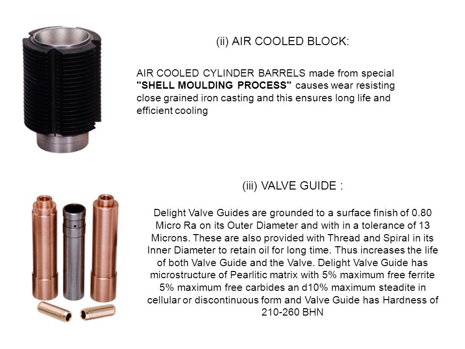 . (ii) AIR COOLED BLOCK: (iii) VALVE GUIDE :