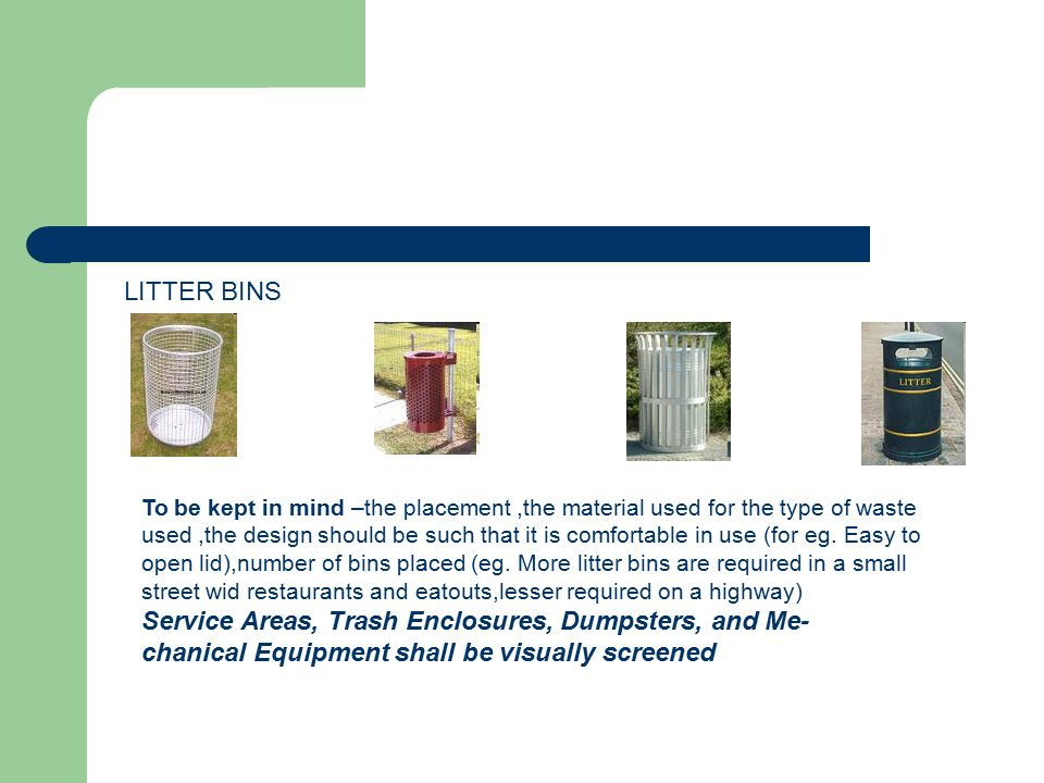 Service Areas, Trash Enclosures, Dumpsters, and Me-