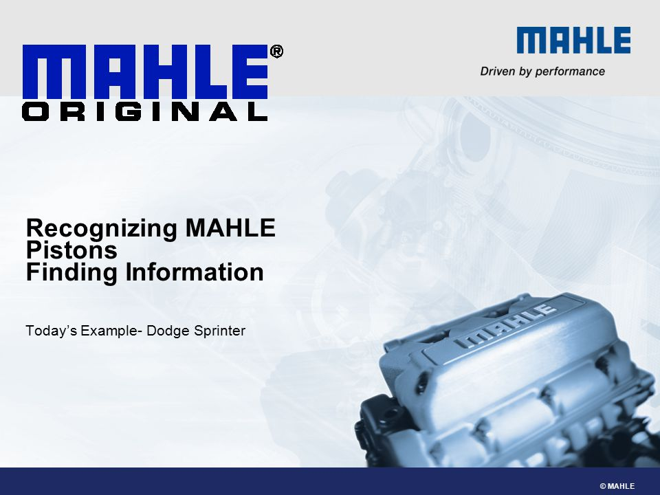 Recognizing MAHLE Pistons Finding Information