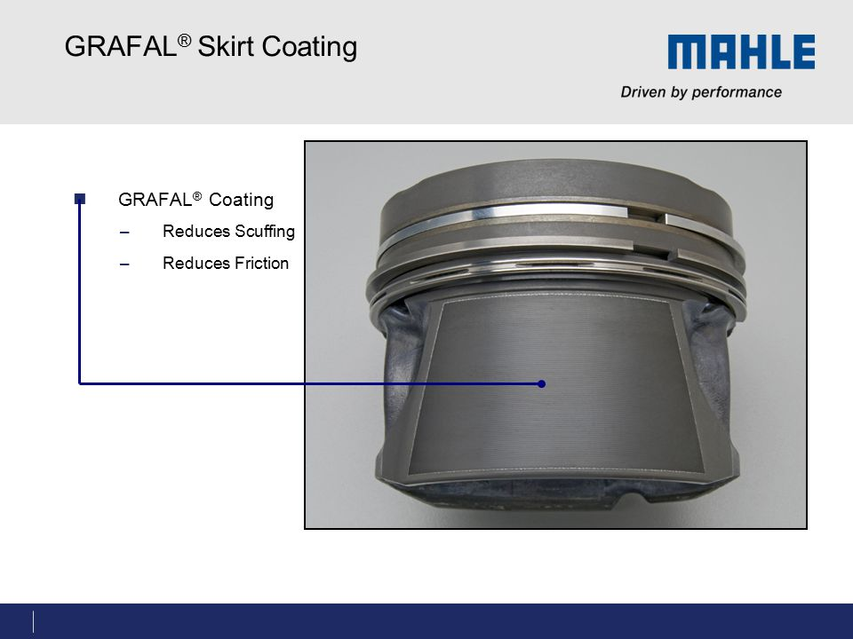 GRAFAL® Skirt Coating GRAFAL® Coating Reduces Scuffing
