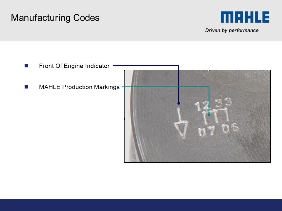 Manufacturing Codes Front Of Engine Indicator