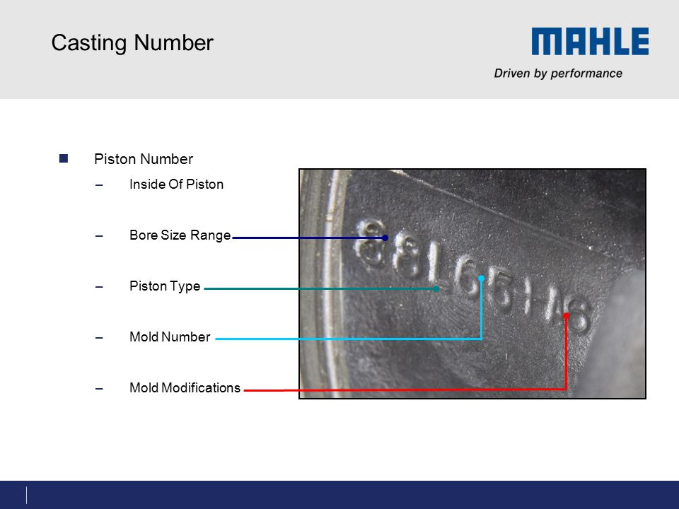 Casting Number Piston Number Inside Of Piston Bore Size Range