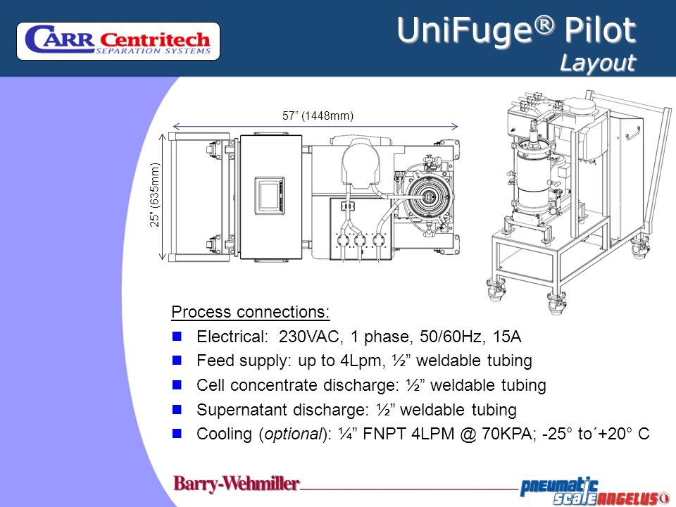 UniFuge® Pilot Layout Process connections: