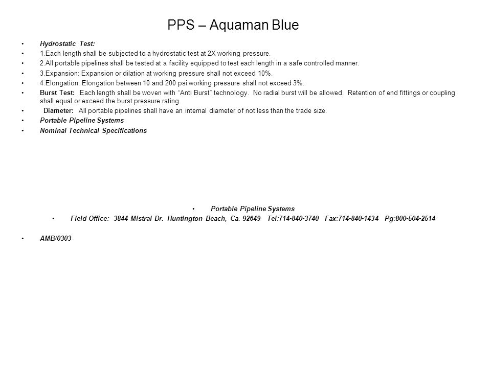 PPS – Aquaman Blue Hydrostatic Test:
