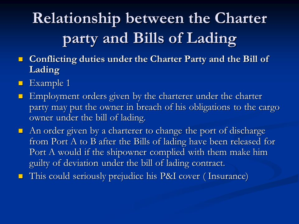 Relationship between the Charter party and Bills of Lading