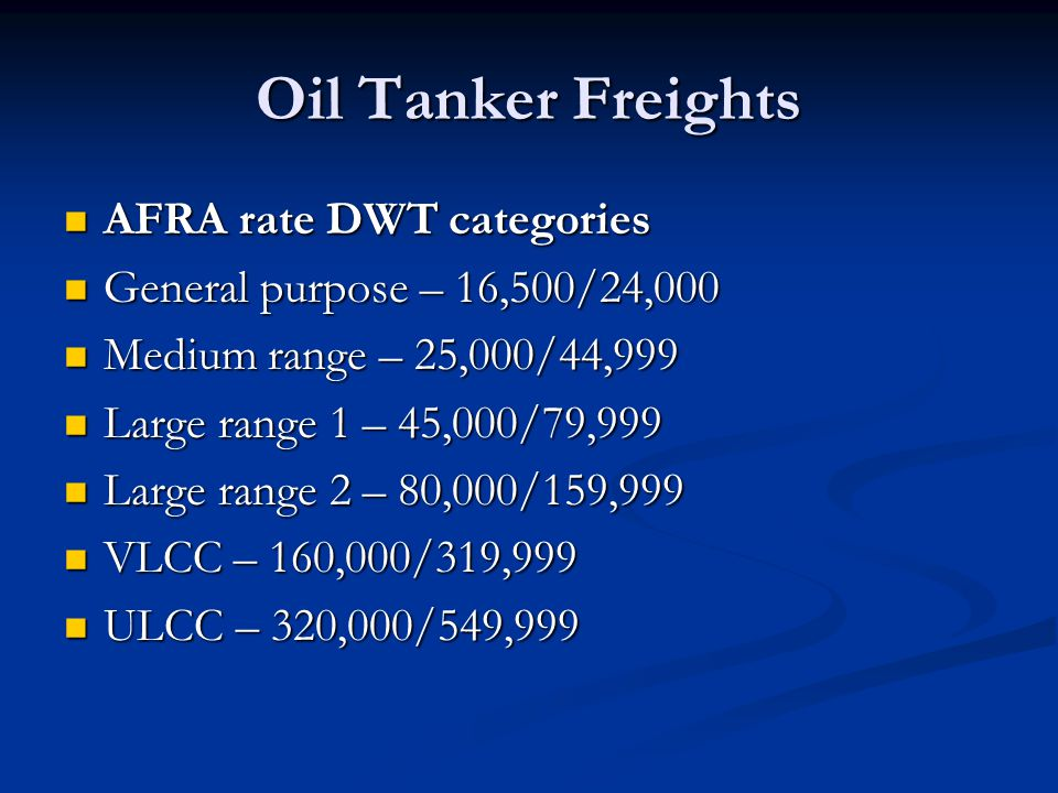 Oil Tanker Freights AFRA rate DWT categories