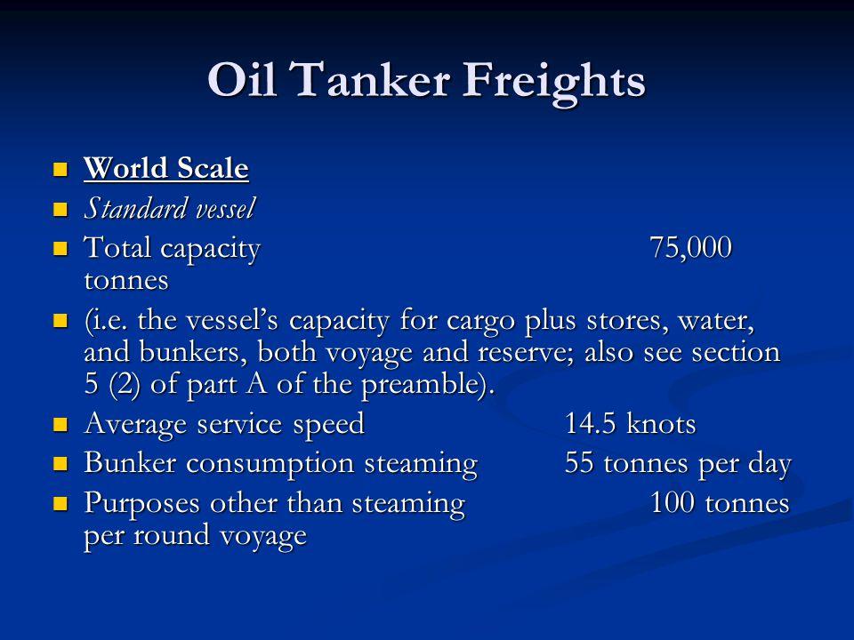 Oil Tanker Freights World Scale Standard vessel