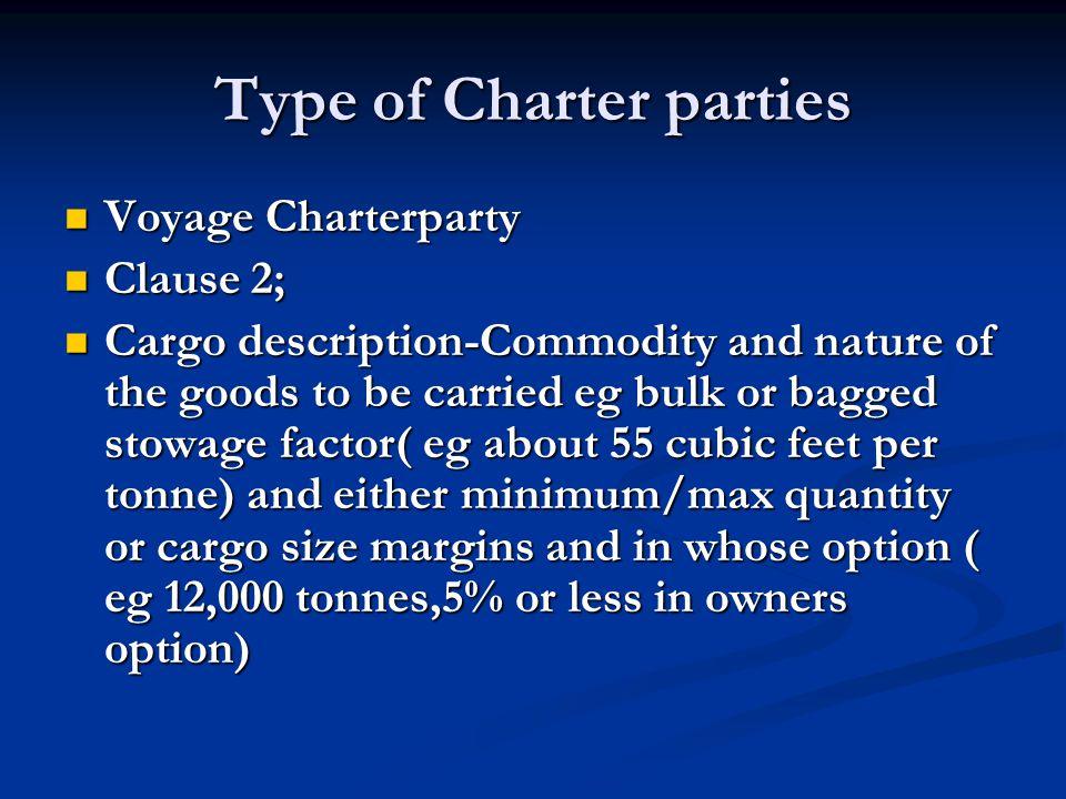 Type of Charter parties