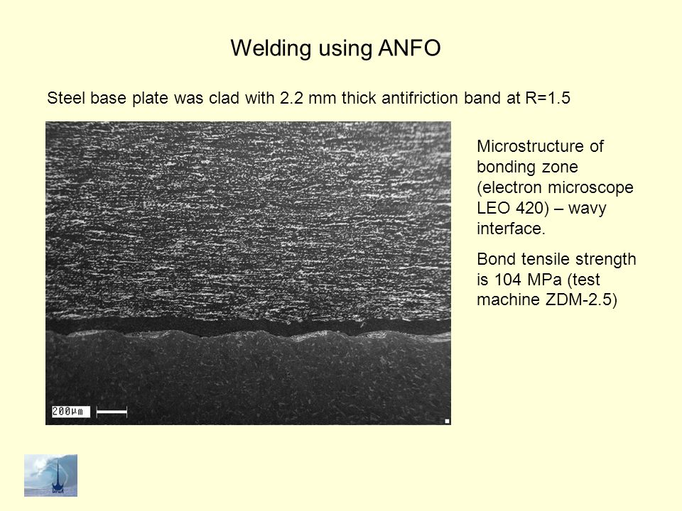 Welding using ANFO Steel base plate was clad with 2.2 mm thick antifriction band at R=1.5.