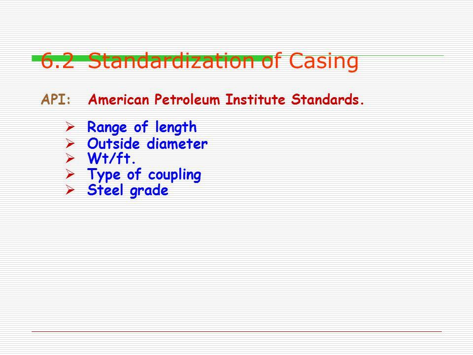 6.2 Standardization of Casing