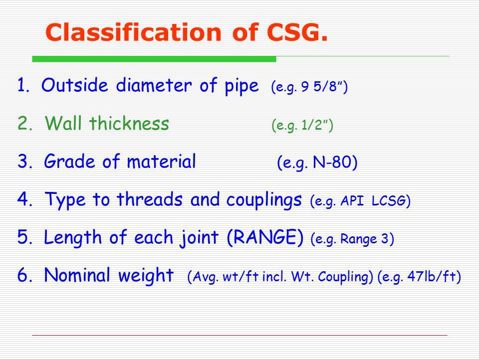 Classification of CSG. 1. Outside diameter of pipe (e.g. 9 5/8 )