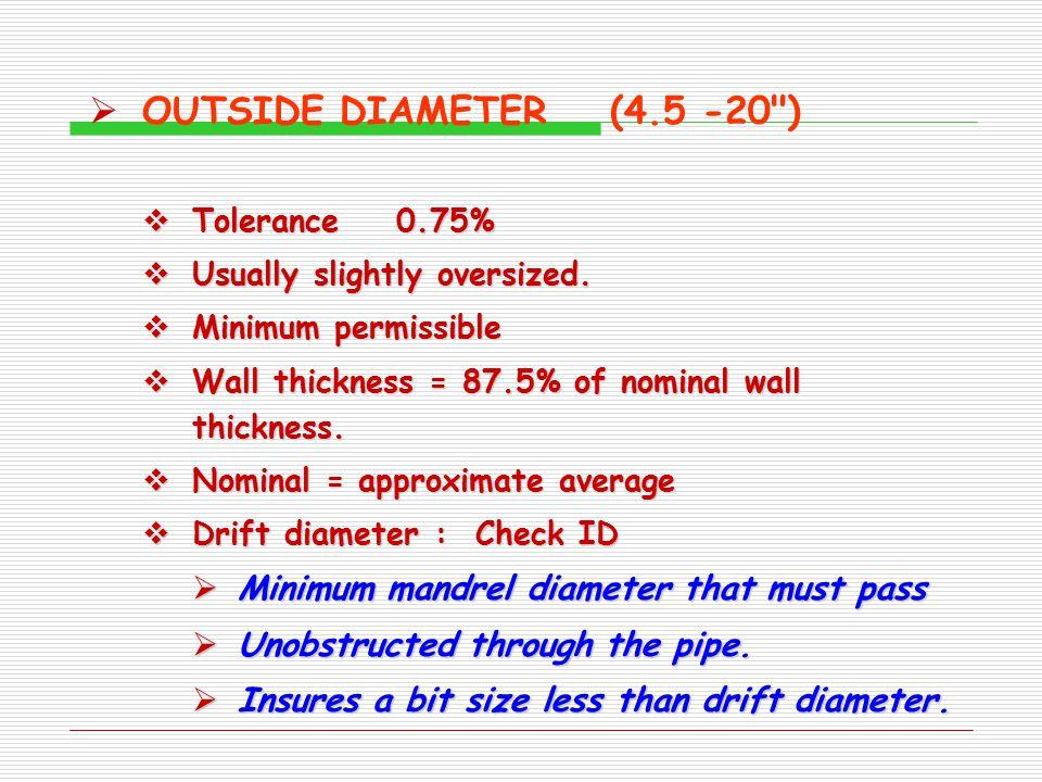 OUTSIDE DIAMETER (4.5 -20 ) Minimum mandrel diameter that must pass