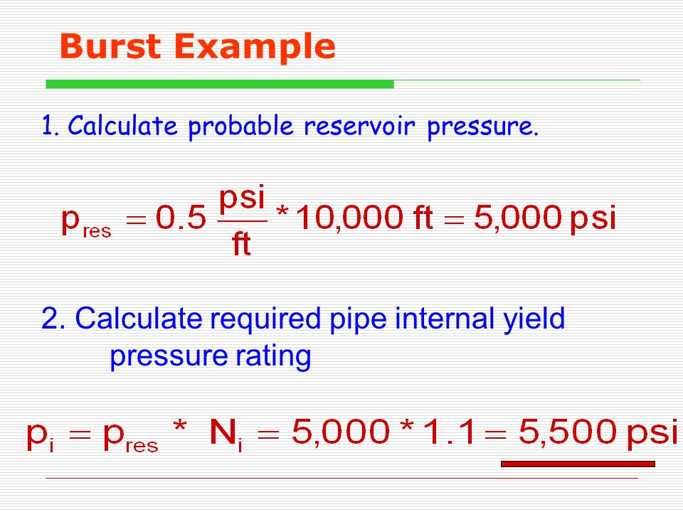 1. Calculate probable reservoir pressure.