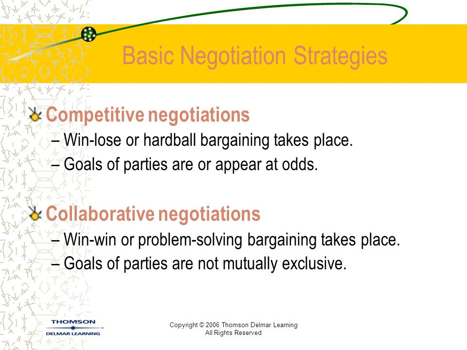 Basic Negotiation Strategies