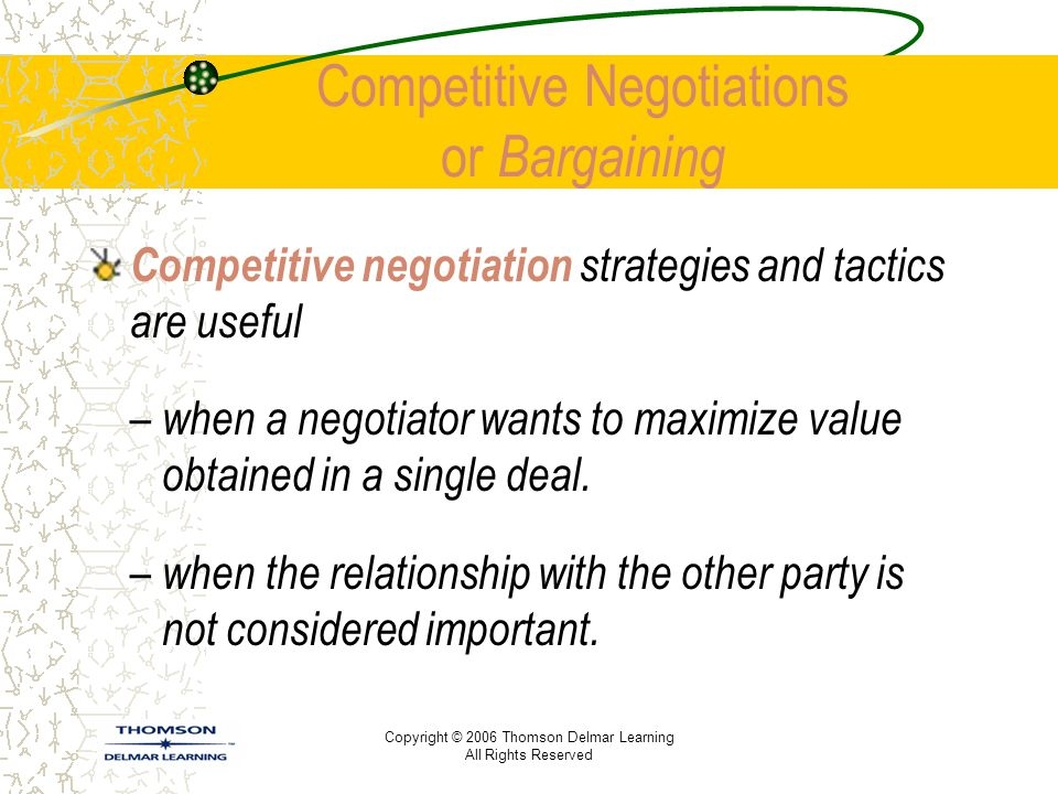Competitive Negotiations or Bargaining