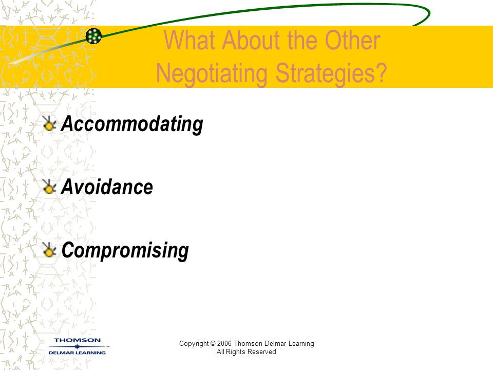 What About the Other Negotiating Strategies