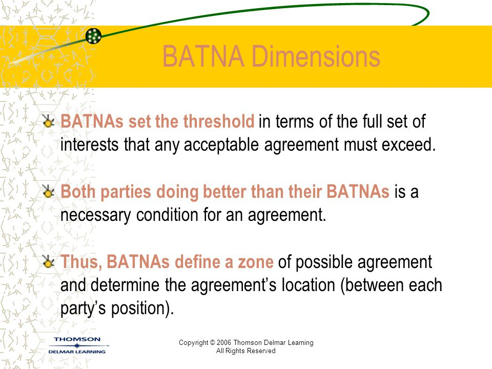 BATNA Dimensions BATNAs set the threshold in terms of the full set of interests that any acceptable agreement must exceed.