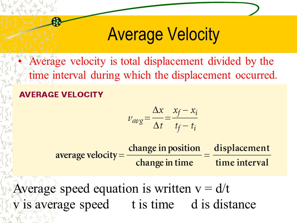 Average Velocity Average speed equation is written v = d/t