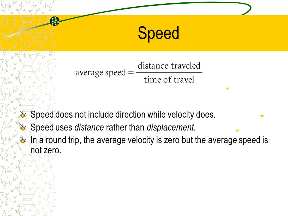 Speed Speed does not include direction while velocity does.