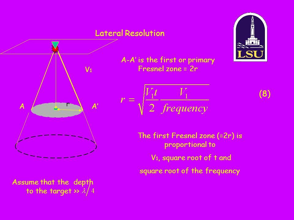 Lateral Resolution (8) A-A' is the first or primary Fresnel zone = 2r