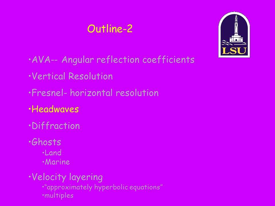 Outline-2 AVA-- Angular reflection coefficients Vertical Resolution