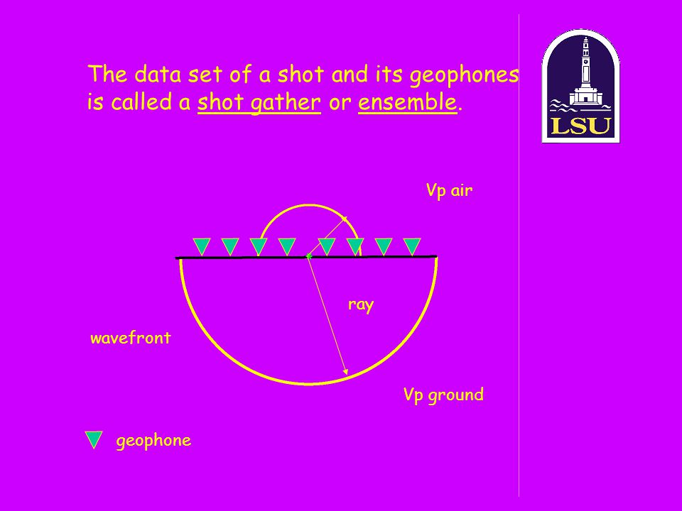 The data set of a shot and its geophones is called a shot gather or ensemble.