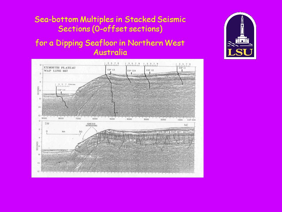 Sea-bottom Multiples in Stacked Seismic Sections (0-offset sections)