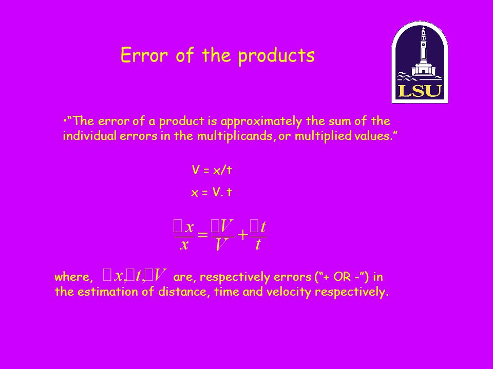 Error of the products The error of a product is approximately the sum of the individual errors in the multiplicands, or multiplied values.