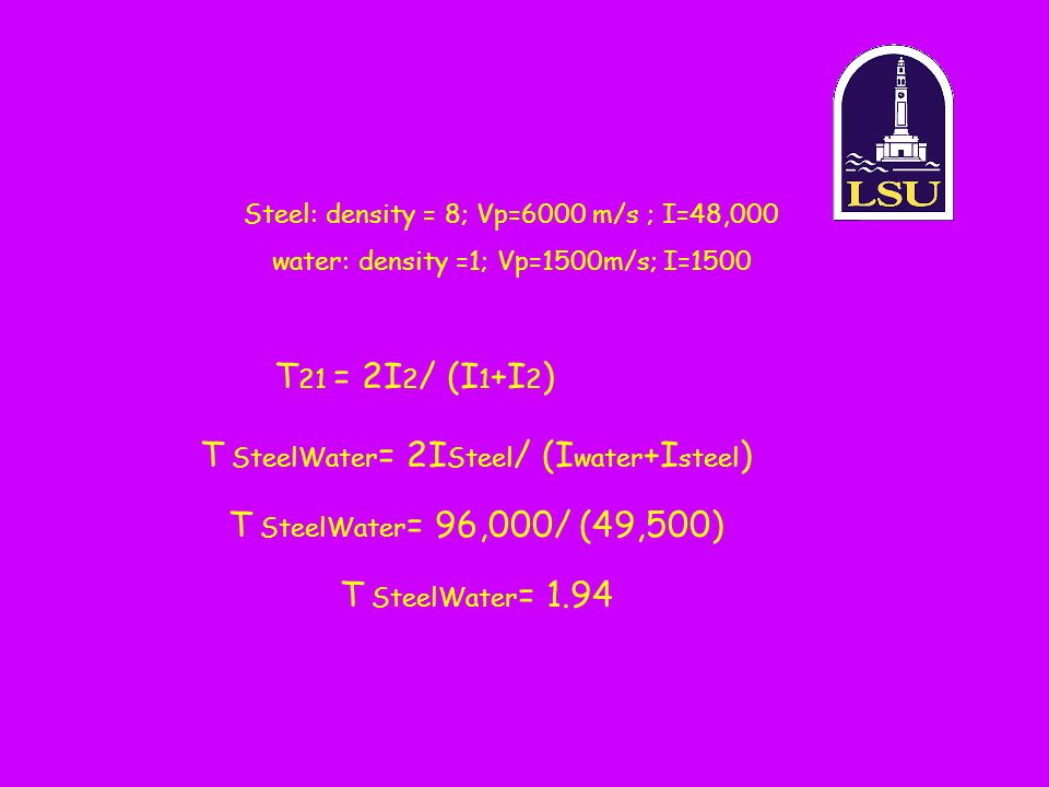 T SteelWater= 2ISteel/ (Iwater+Isteel)
